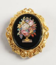 Oval Micro Mosaic Panel Brooch Depicting An Urn