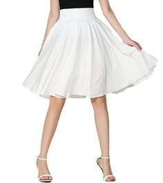 Persun Womens Basic Flared High Waist Midi Skater SkirtWhiteL >>> Click image to review more details.