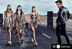 Metálicos #BALMAINSS17 #DoutzenKroes #IsabeliFontana #NatashaPoly and #JonKortajarena photographed by #StevenKlein for the #BALMAINSS17 ad campaign. #BALMAINARMY  via ONE BOOK MAGAZINE OFFICIAL INSTAGRAM - Celebrity  Fashion  Haute Couture  Advertising  Culture  Beauty  Editorial Photography  Magazine Covers  Supermodels  Runway Models