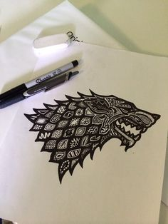 A sharpie direwolf! Combining two of my favourite things :)