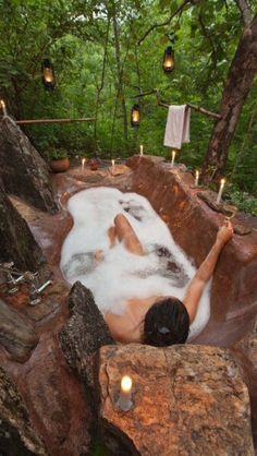 Outdoor tub, hidden in the woods