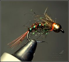 Hook: BL # 12 Thread: 8/0 black. Tail : B rown cock. Body: Peacock , red wire , holograf tinsel , spectra dubbing . Thorax...