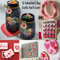 12 Valentine's Day crafts you'll love to make - these make an awesome addition to your holiday decor (and there are some gifts in here too!)