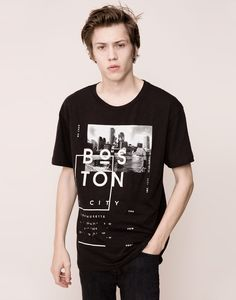 SHORT-SLEEVED PRINTED T-SHIRT - T-SHIRTS - MAN - PULL&BEAR Indonesia