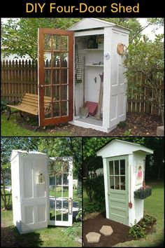 DIY Four-Door Shed This little DIY four-door shed is perfect as it can be used as garden tools storage. Related posts: DIY Garden Shed from Picket Fence 10 DIY Garden Shed Plans and Ideas Backyard Shed DIY Ideas You Won't Believe DIY Garden Shed Garden Tool Storage, Shed Storage, Garden Tools, Garden Shed Diy, Small Garden Tool Shed, Outdoor Tool Storage, Backyard Sheds, Backyard Landscaping, Garden Sheds