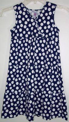 Navy Blue & White Polka Dot Cotton Summer Dress Sundress JK Khaki Girl's Size 6X #JKKhaki #Everyday