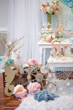 Loving the mermaid and under the sea parties this year? Kara's Party Ideas presents a beautiful Pastel Mermaid Birthday Party. Mermaid Theme Birthday, Little Mermaid Birthday, Little Mermaid Parties, Mermaid Baby Showers, Baby Mermaid, Birthday Party Decorations, 1st Birthday Parties, Tea Parties, Party Fiesta
