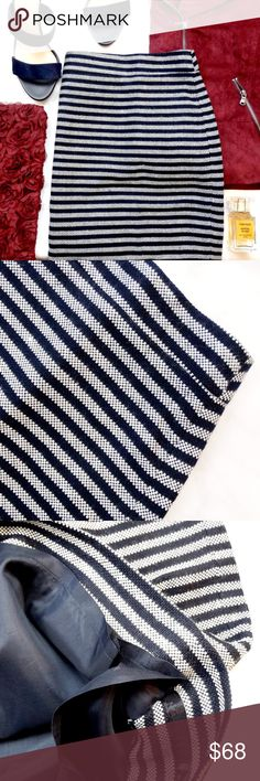 J. Crew Factory Navy Striped Pencil Skirt Size 20 navy and white striped tweed skirt, fully lined. NWT. 10211601 J. Crew Factory Skirts Pencil