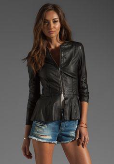 MUUBAA Cursa Peplum Leather Jacket in Black - Jackets