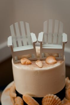 Cake Topper for Beach Lovers  Joy + Michael - A Stone Harbor Yacht Club Wedding
