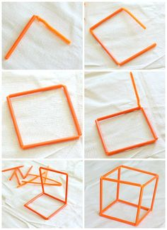 how to make 3-d shapes with straws and pipe cleaners