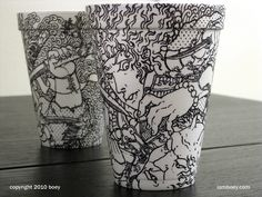 Creative Coffee Cup Art By Cheeming Boey Coffee Cup Drawing, Coffee Cup Art, Coffee Cup Design, Coffee Shop, Coffee Coffee, Arte Sharpie, Sharpie Pens, Sharpies, Tassen Design
