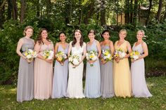 Bridesmaid dresses in different muted shades, photographed by Sarah Tew Photography