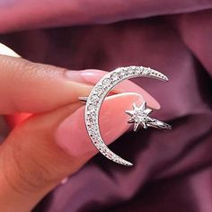 Buy 2019 New Fashion Ring Moon & Star Dazzling Open Finger Ring For Women Girls Jewelry Pure Wedding Engagement Jewelry Gifts Girls Jewelry, Jewelry Gifts, Cosmos, Fashion Rings, Fashion Jewelry, Silver Jewelry, Silver Rings, Jewelry King, Jewlery
