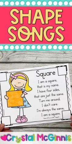 Circle Crafts Preschool, Preschool Shape Activities, Preschool Songs, Preschool Literacy, Kindergarten Circle Time, Kindergarten Shapes, Kindergarten Activities, Teaching Patterns, Teaching Shapes