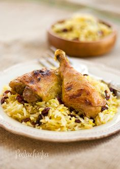 Persian Roasted Chicken with Dried Cherry-Saffron Rice.  Gluten-free & dairy-free.  I can't wait to try this one.  I love Persian food.