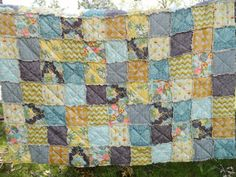 Queen Size Quilt, Rag, in Bari J. Ackerman's Lilly Belle fabric, grey yellow patchwork, Ready to Ship