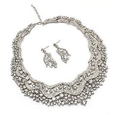 Bridal Wedding Jewelry Set Crystal Rhinestones Stunning Bib Necklace Silver  http://electmejewellery.com/jewelry/jewelry-sets/bridal-wedding-jewelry-set-crystal-rhinestones-stunning-bib-necklace-silver-com/