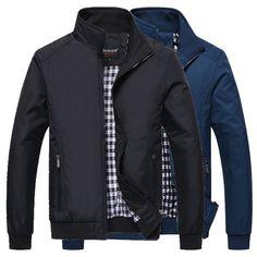 Sale 25% (41.99$) - Mens Plus Size Zipper Fashion Lapel Casual Jacket Overcoat Waterproof Outdoor Sports Coat