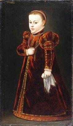 Attr. to Domenicus Verwilt: Princess Isabella (Elizabeth) Vasa. Elizabeth of Sweden, (also Elisabet Gustavsdotter Vasa;1549-1597), Swedish princess, and duchess consort of Mecklenburg-Gadebusch by marriage to Christopher, Duke of Mecklenburg-Gadebusch. Daughter of King Gustav Vasa of Sweden and his 2nd wife, Queen Margaret.