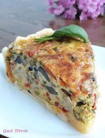 .: Tarta cu legume Quiche, Food Art, A Food, Vegetarian Recipes, Cooking Recipes, Vol Au Vent, Fruit Drinks, Garlic Bread, Food To Make