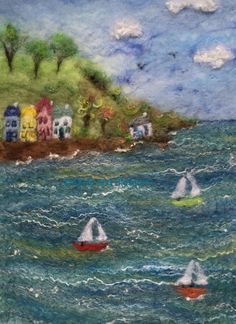 A Summers Day - Painting With Wool A beautiful sunny day, a hamlet of quaint cottages overlooks the bay where sailing boats sail by in the breeze. A Summers Day has been created by wet felting using Merino wool, Falkland Cross wool and hand dyed Bluefaced Leicester wool for texture and movement. Silk adds lustre to catch the light shimmering off the water. This picture is original and cannot be replicated. A Summers Day itself measures approximately 15.5 cm (W) x 21.5 cm (H). It comes…