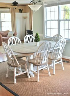 How to Refinish a Table - Sand and Sisal - Two Toned Painted Furniture Another kitchen set refinishing idea - Refinishing Kitchen Tables, Refinished Table, Dining Table Makeover, Painted Kitchen Tables, Kitchen Table Makeover, Painted Oak Table, Painting Kitchen Chairs, Wooden Kitchen, Oak Table And Chairs