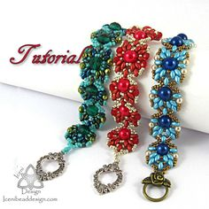 Pdf Tutorial Buttercup Bracelet with Super Duo Beads, Beading Pattern