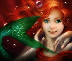 invitación de primera comunión de Vicky. Caracterizada de la princesa Ariel (la sirenita de Disney)
