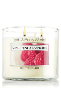 Sun-Ripened Raspberry 3-wick candle~ Luscious berries warmed by the summer sun blend delectably with a hint of green vine.