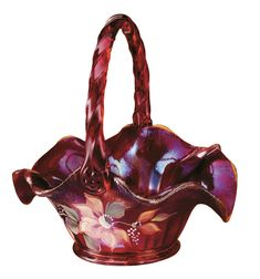 "Fenton Art Glass Ruby Amberina Stretch ""Tuscan Charm"" Basket"