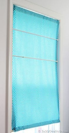 Sew Curtains No Sew Roman shade with Tension Rods --Tutorial for how to make no Sew window treatments - Kitchen Window Blinds, Bathroom Window Curtains, Bathroom Window Treatments, Valance Window Treatments, Bathroom Windows, Blinds For Windows, Window Coverings, Kitchen Curtains, No Sew Curtains