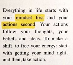 Mindset First, Actions Second. Motivacional Quotes, Mood Quotes, True Quotes, Best Quotes, Pretty Words, Cool Words, Wise Words, Positive Affirmations, Positive Quotes