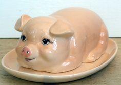Vintage Pink Pig Butter Dish  Ceramic Kitsch by FourthEstateSale, $12.00