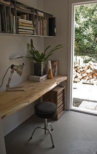 *** Wooden desk slab, luke mortimer via design sponge