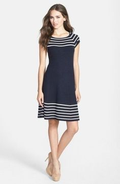 Eliza J Women's Stripe Knit Flared Dress