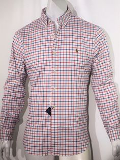 Polo Ralph Lauren men's gingham oxford long sleeve shirt size M NEW on SALLE #PoloRalphLauren #ButtonFront