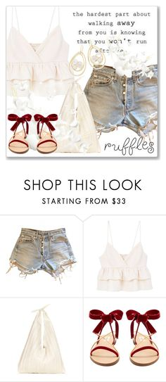 """""""Add Some Flair: Ruffled Tops"""" by andrejae ❤ liked on Polyvore featuring Levi's, MANGO, The Row, Valentino, Ippolita, polyvoreeditorial, polyvorecontest and ruffledtops"""