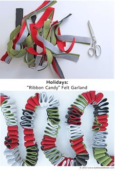"Holidays: ""Ribbon Candy"" DIY Felt Garland : Learn how to make 20 different Felt Christmas Crafts! Holiday Home Decor and Ornaments are so much fun to make! Diy Christmas Garland, Felt Christmas Decorations, Christmas Banners, Felt Christmas Ornaments, Christmas Fabric, Diy Christmas Gifts, Christmas Projects, Holiday Crafts, Christmas Holidays"