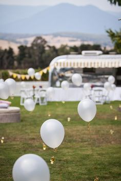 Garden party with lawn balloons