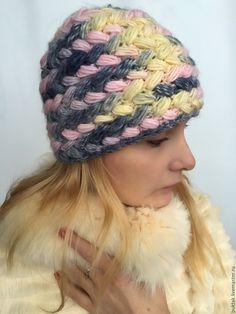 Купить Шапка КОЛОСОК - комбинированный, желтый, розовый, шапка вязаная, шапка крючком, шапка спицами