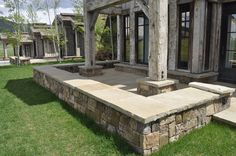 Frontier wall cap is usually chopped to width and in random lengths. Porch Entry, Front Porch, Landscaping, Sidewalk, Patio, Stone, Random, Outdoor Decor, Wall