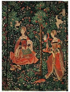 #medieval #tapestry #pattern Medieval tapestry, ladies embroidering Medieval World, Medieval Art, Renaissance Art, Chinoiserie, Unicorn Tapestries, Medieval Tapestry, Art Chinois, Art Japonais, Historical Art
