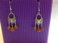 Goldstone Earrings by WirednStrung on Etsy