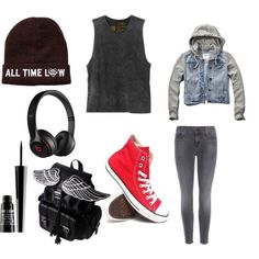 music by onecoolone on Polyvore featuring polyvore fashion style RVCA Abercrombie & Fitch J Brand Converse Beats by Dr. Dre Lord & Berry