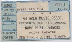 Alice In Chains played at the NAMA Music Awards show on 3 Mar 1991 at the Moore Theatre (ticket)