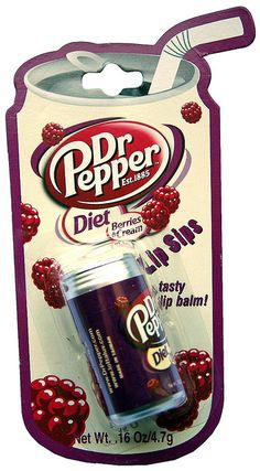 Diet Dr. Pepper lip balm     . Great selection. More canning ideas here:  http://adriankmarketing.com/products/?cat=17