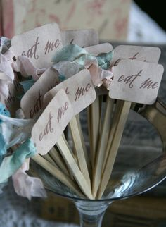 Alice in Wonderland Tea Party Ideas - Eat Me sticks for Mad Hatter Tea Party