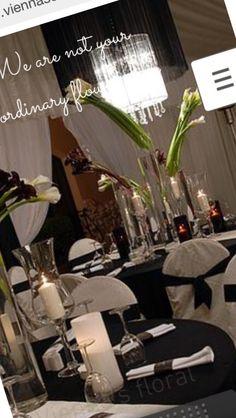 Black & white wedding Wedding Flower Arrangements, Wedding Flowers, Concept, Table Decorations, Weddings, Black And White, Floral, Creative, Home Decor
