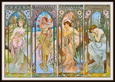 "Alfons Mucha Art Nouveau ""The Four Times"" Morning - Midday - Afternoon - Night Grouping 1899-  Giclee Art Print"